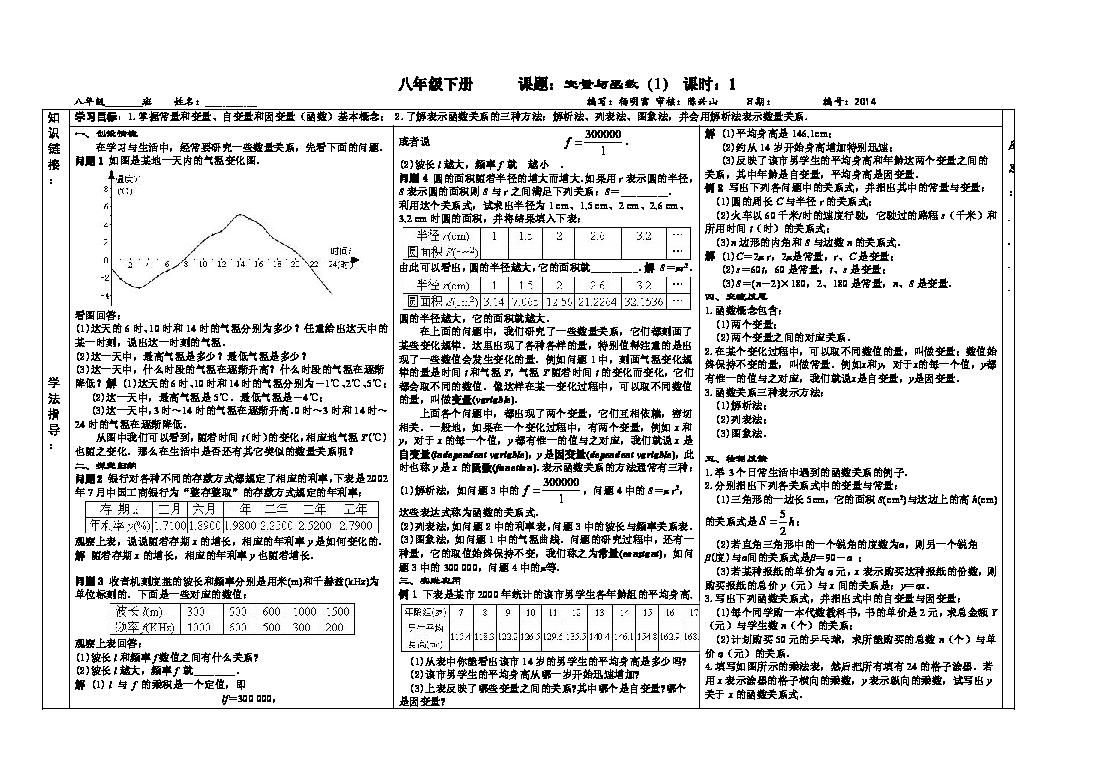 高中数学 第二章 函数 1 生活中的变量关系 北师大版必修1课...