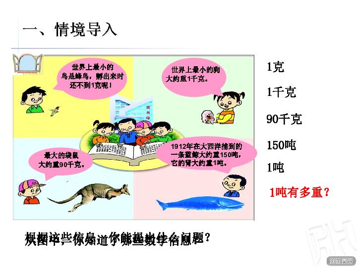 第2课时 教学课件 动物趣闻 吨的认识