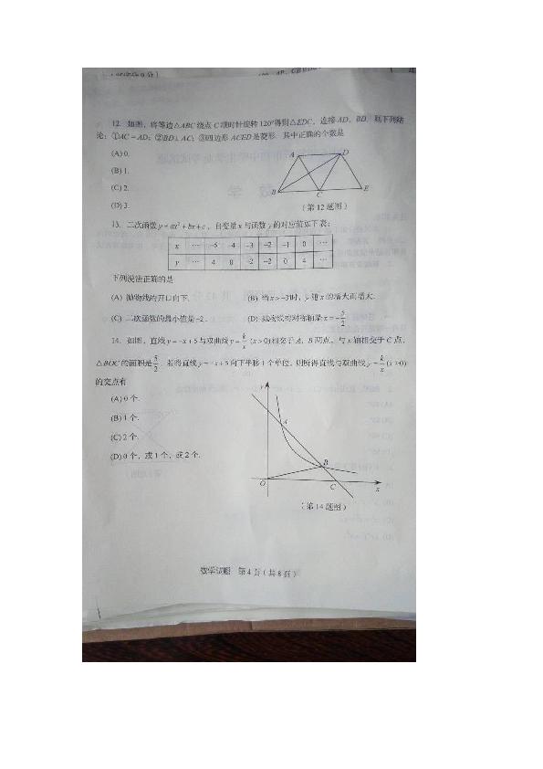 山东省临沂市2016年中考数学试题 图片版,无答案