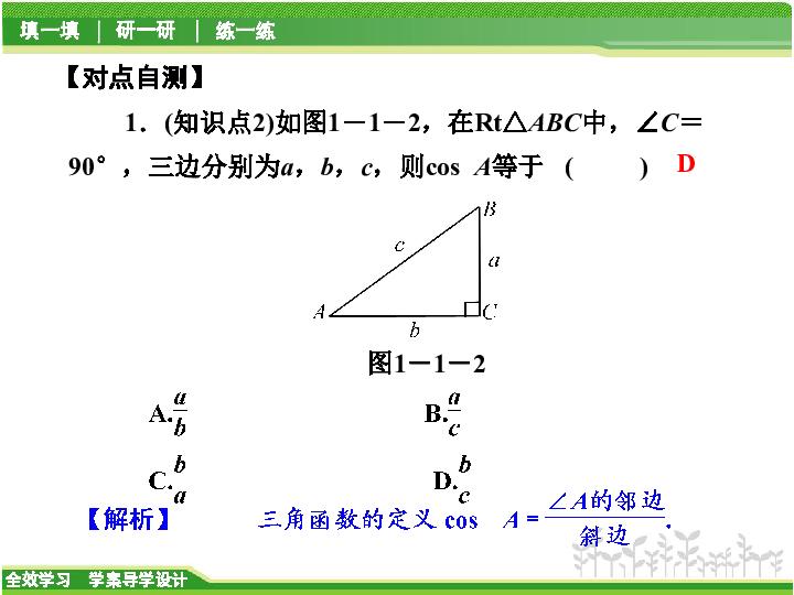 .1 锐角三角函数的概念第1课时