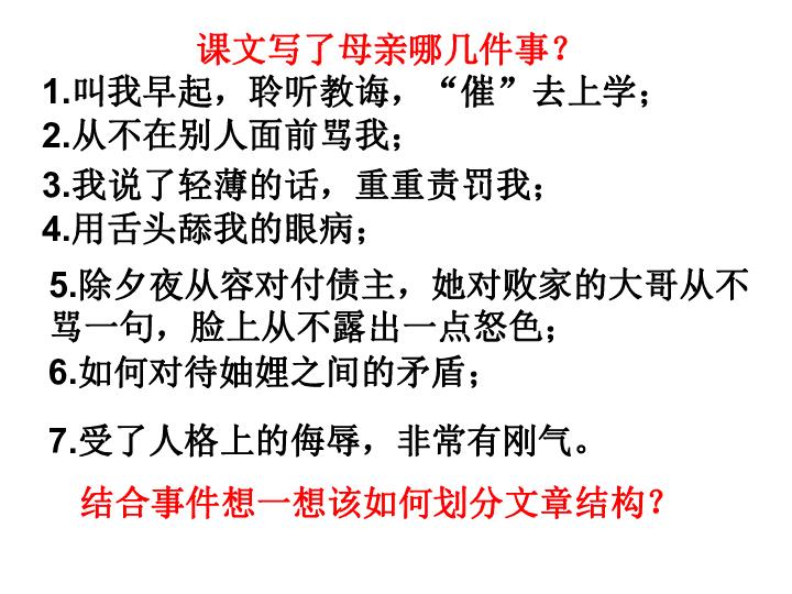 宁陕县城关初级中学八年级语文下册 第2课 我的母亲 共23张PPT