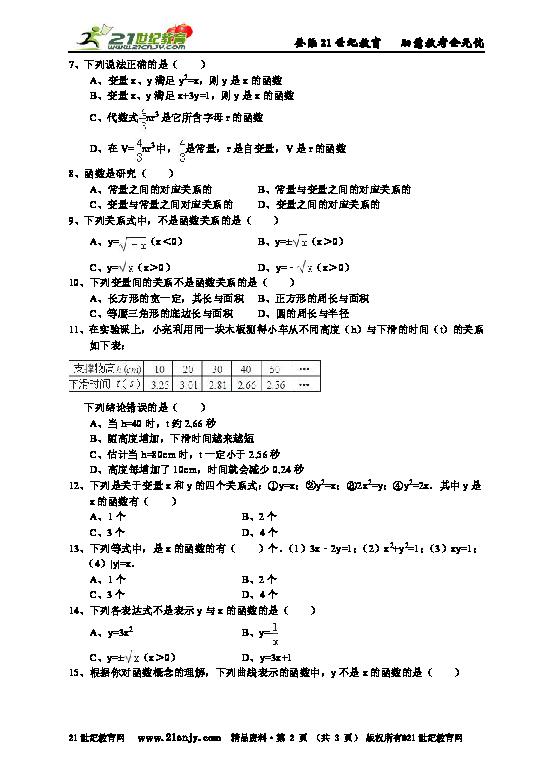 函数的概念 详细解析 考点分析 名师点评